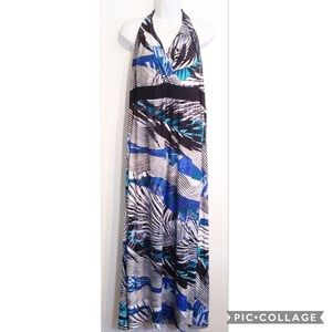 SOMA Plus Size Tropical Print Halter Maxi Dress